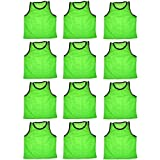 BlueDot Trading Youth High quality 12 Green sports pinnies- 12 High quality scrimmage training vests