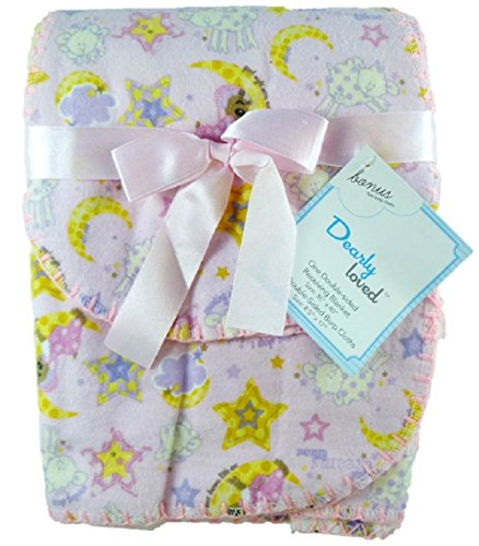 Dearly Loved Flannel Receiving Blanket & Burp Cloths Gift Set (Pink/Sweet Dreams)