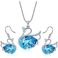 Yellow Chimes Swarovski Elements Blue Swan Crystal Jewellery Set for Women