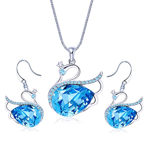 Yellow Chimes Swarovski Elements Blue Swan Crystal Jewellery Set for Women
