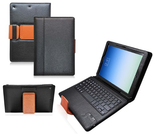 Ionic Bluetooth Keyboard Tablet Stand Leather Apple iPad 5 iPad Air Case (Black/ Brown)