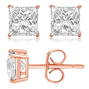 Rose Gold Plated Sterling Silver 8mm Princess Cubic Zirconia Gem Stud Earrings