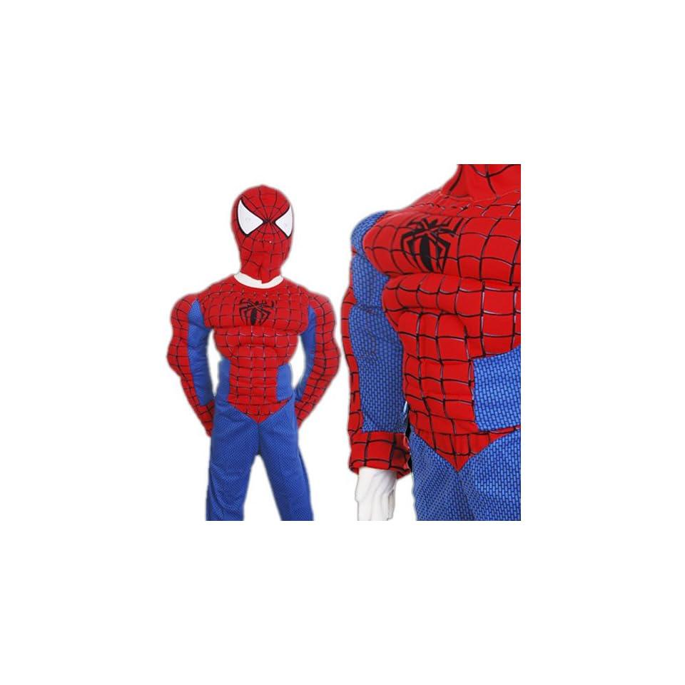 D152 11 Spiderman Kinder Kostüm mit Muskeln (Gr.116122) on