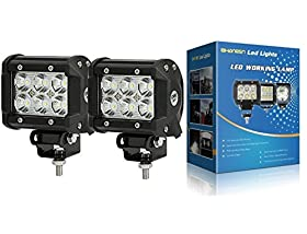 SHANREN DSquare 18w 1260lm 6 Cree XBD Flood Led Work Light Bar Off-road SUV Boat 4x4 Jeep Lamp 4wd(Park of 2)