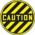 "Accuform Signs MFS779 Slip-Gard Adhesive Vinyl Round Floor Sign, Legend ""CAUTION"", 17"" Diameter, Black on Yellow"