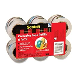 Refill Rolls for DP-1000 Easy Grip Tape Dispenser, 1.8 x 25 yds, 6 Rolls/Pack by Scotch