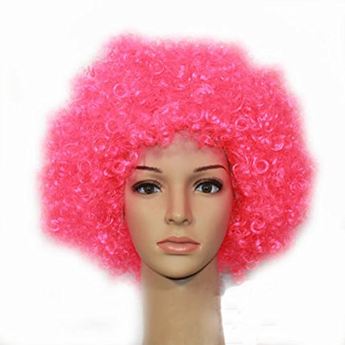 Party Cosplay Quirky Wig Periwig Wild-curl up Curly Clown Costumes, Pink