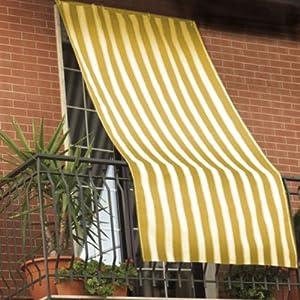 da sole 150x290cm in tessuto a strisce con anelli ombra per balcone ...