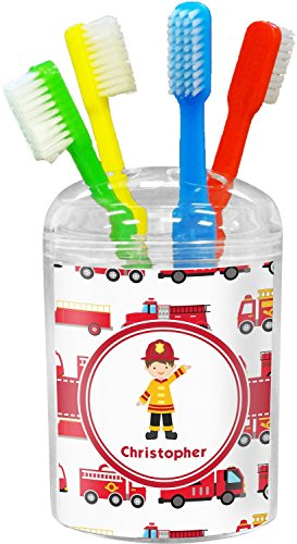 Firetrucks Toothbrush Holder (Personalized) (Fire Truck Toothbrush Holder compare prices)