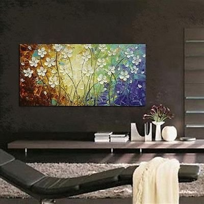 100% Hand-Painted Best-Selling Quality Goods Free Shipping Wood Framed On The Back Knife Picture Small Broken Flower Series High Q. Wall Decor Landscape Oil Painting On Canvas 4Pcs/Set Mixorde