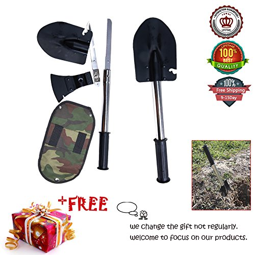 Ezyoutdoor Multifunctional Rescure Survival Tools Set Shovel Axe Knife Saw Camping Kit, 1 Universal Handle + 4 PCS Tool Head