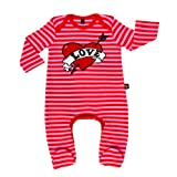 Rockabye-Unisex Baby Loveheart Long Sleeve All-In-One Red/Pink 6-9 Months