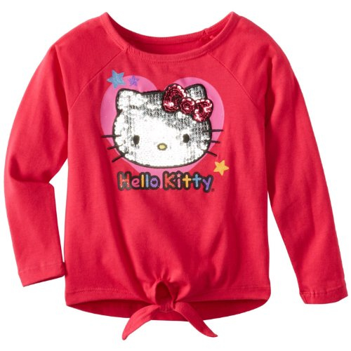 Hello Kitty Little Girls' Front Tie Long Sleeve, Rose, 2T front-918034