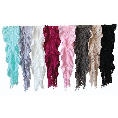 12X 65 Nylon Knitted Scarf 8 Colors - Case Pack 24 SKU-PAS893136