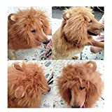 Generic Pet Costume Lion Mane Wig with Ears for Dog Cat Halloween Clothes Fancy Dress up (Light Brown, M)