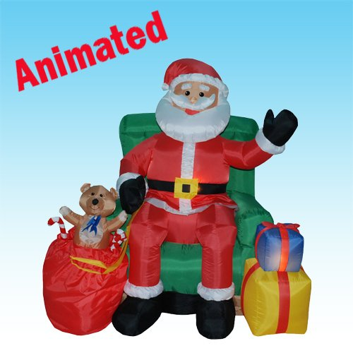 inflatable xmas santa:4 feet Animated xmas Inflatable santa claus Claus in eco-friendly Chair couch + movement Images