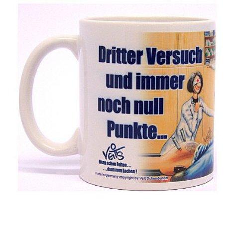 """lustige Cartoon Kaffee Tasse Becher für Ärzte und Krankenschwestern - """"Spritze - Dritter Versuch und immer noch null Punkte!"""""""