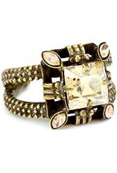 """Sorrelli """"Raw Sugar"""" Crystal Geometric Adjustable Goldtone Ring"""