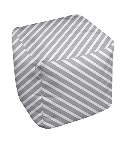 E by design Stripe Pouf, 13-Inch, 2Rain Cloud