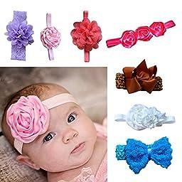 Baby Headbands Baby Girl Headbands with Bows Mixed Style (7pcs)