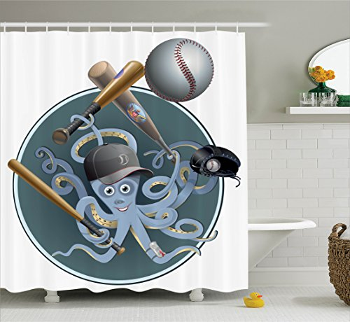 ambesonne-octopus-decor-collection-octopus-playing-baseball-with-cap-glove-ball-and-bat-cartoon-imag