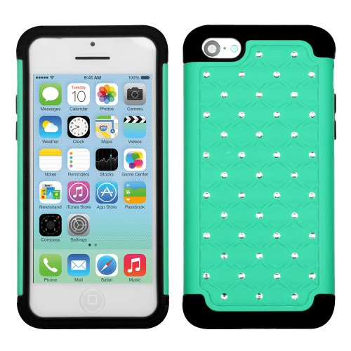 Iphone 5C Green/Black Luxurious Lattice Dazzling Totaldefense Protector Cover - Lifetime Warranty