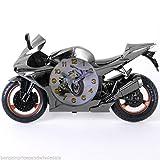Novelty Sport Motorbike Standing Alarm Clock Quartz Silver Bike Gift