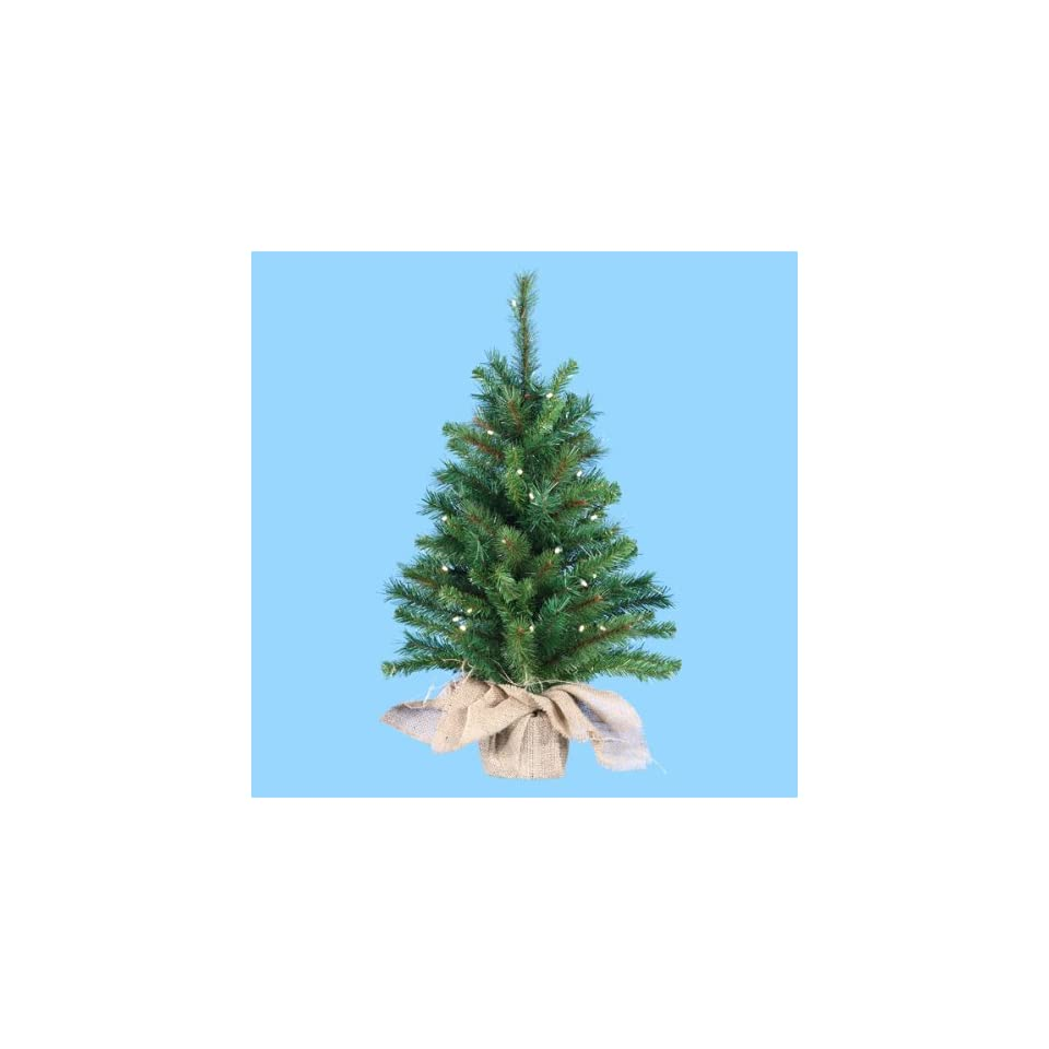 2.5 Pre Lit Artificial Pine Christmas Tree in Burlap Bag   Clear Lights