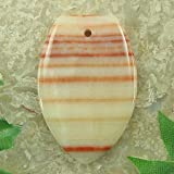 45mm orange zebra jasper flat teardrop pendant bead