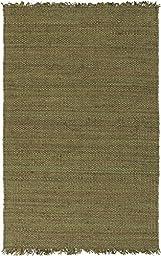 Green Jute Rug Transitional Design 5-Foot x 7-Foot 6-Inch Jute Handwoven Boucle Carpet Solid Carpet