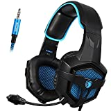 Sades SA807 3.5mm PS4 Wire Gaming Headsets Headphone with Microphone for PS4,Xbox one,PC (Black and Blue) (Color: 807)