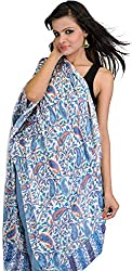 Exotic India Womens Silk Stoles ,Blue ,Free Size