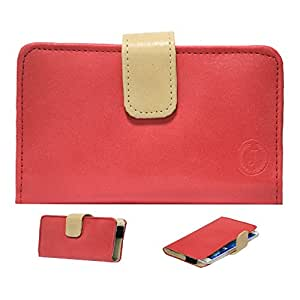 Jo Jo Nillofer Leather Carry Case Cover Pouch Wallet Case For BSNL Penta Smart PS501 Red Beige