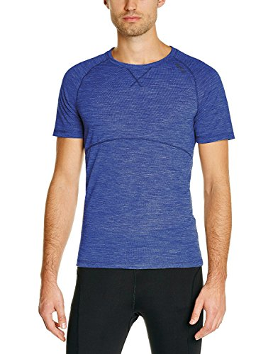Odlo-Herren-Unterhemd-Shirt-Short-Sleeve-Crew-Neck-Revolution-TW-Light-Turkish-Sea-Melange-L-110082