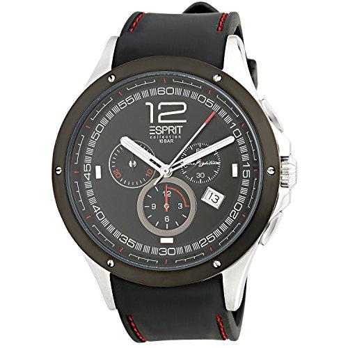 Esprit Hombre Cronógrafo Negro Pulsera de piel Cristal Mineral Reloj el101421F01