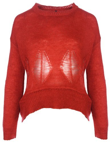 Women's Knitwear- Knitted Jumper with Leaf Cut-outs in Tomato Red (Size M-L)