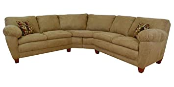 Amanda 2-Pc Sectional Sofa in Bulldozer Mocha Fabric