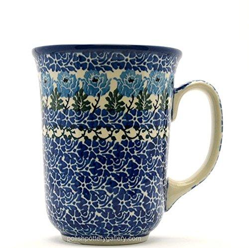 Polish Pottery Bistro Mug - 16 Oz - Antique Rose Pattern