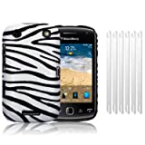 BLACKBERRY CURVE 9380 ZEBRA PU LEATHER HYBRID SNAP CASE / COVER / SHELL / SHIELD + 6-IN-1 SCREEN PROTECTOR PACK PART OF THE QUBITS ACCESSORIES RANGEby Qubits