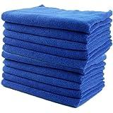 Yinglite Chiffons en microfibre - Lot de 10 Chiffons - Grand 40cm x 40cm - Bleu - Idéal pour le nettoyage des voitures, bateaux, cuisines etc (40x40cm Lot de 10)