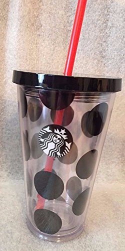 Starbucks Travel Mug Cup 2015 16 oz Cold Clear Black Dots Black Lid w/Straw HTF (Starbucks Cups With Straw compare prices)