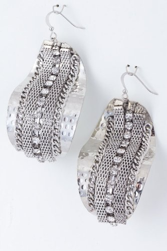 Karmas Canvas Chain Lined Metal Earrings (Silver) front-1050816