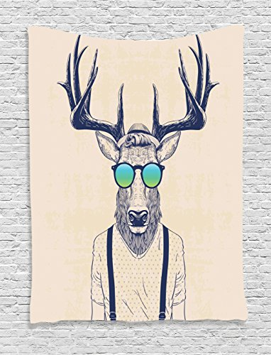 Ambesonne Antlers Decor Collection, Illustration of Deer Dressed Up Like Cool Hipster Fashion Creative Fun Animal Art Print, Bedroom Living Room Dorm Wall Hanging Tapestry, Beige Black (Cool Wall Ideas compare prices)