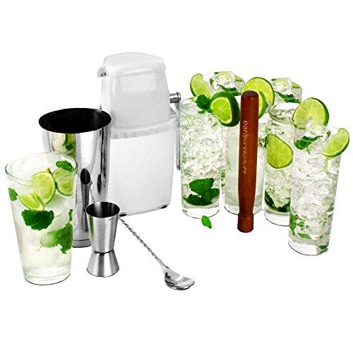 bar@drinkstuff Kit à mojito 6 verres hauts + shaker en métal + pilon + doseur  + cuillère