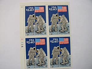 Plate Block of 4, $2.40 US Postage Stamps, 1989 Moon Landing 20th Anniversary, Scott #2419, MNH.