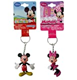 Disney Mickey and Minnie Mouse Figure 3D Keychain Set