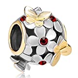 Pugster 22K Gold Plated Peridot Green Flower Golden Butterfly Charm Bead Fits Pandora Bracelet (Garnet Red) thumbnail