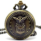 CredDeal Us Air Force All-star Bronze Pocket Watch with Matching Chain Pw046