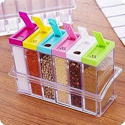 DFS's Crystal SEASONING BOX SEASONING SET PEPPER SALT SPICE RACK Plastic 6 Masala Box Kitchen See Through Storage Containers