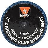 Neiko Roloc Type 3-Inch Flap Disc, Zirconia, 40 Grit, 10 Pieces